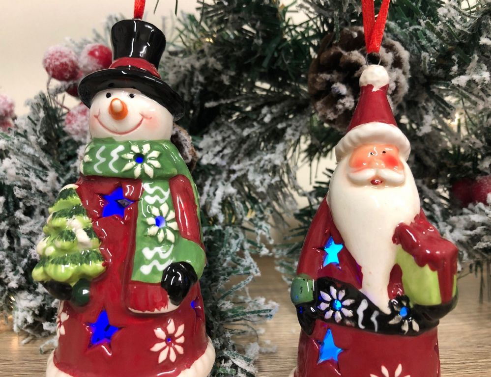 Flashing LED Santa & Snowman Hanging Ceramic Christmas Tree Decoration PAIR